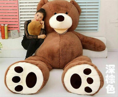 130CM Giant Plush Teddy Bear Big Animal Soft Toy Gift (ONLY COVER) Dark Brown