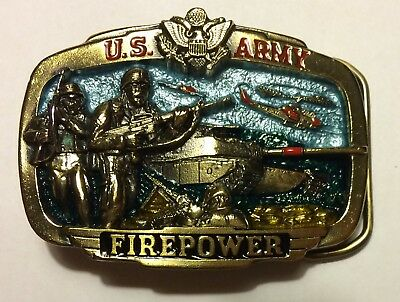 US ARMY Firepower BELT BUCKLE vintage tank helicopter Great American Buckle Co