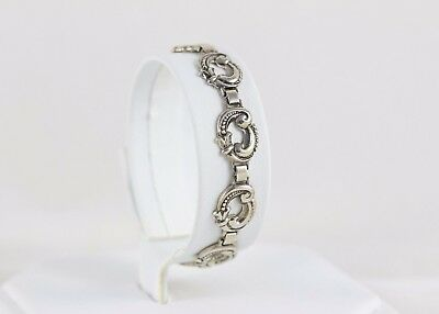 """Antique Sterling Silver Link Bracelet 6"""" Arts and Crafts Movement Woman or Child"""