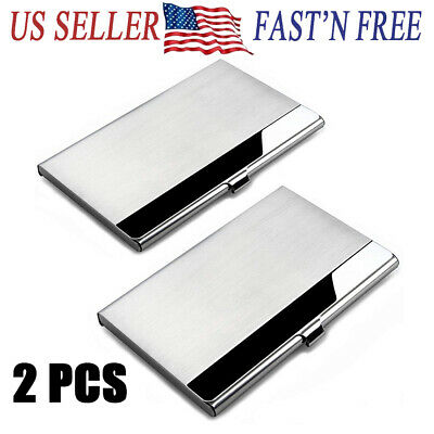 2X Stainless Pocket Business Card Holder Case  ID Credit Name Box Steel Wallet