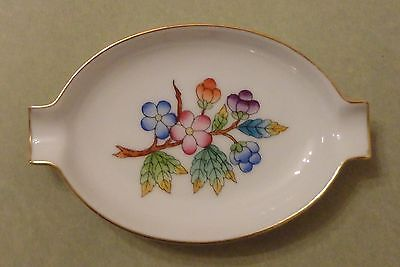 HEREND China QUEEN VICTORIA Décor PEONY Flower Vintage Porcelain ASHTRAY Trinket
