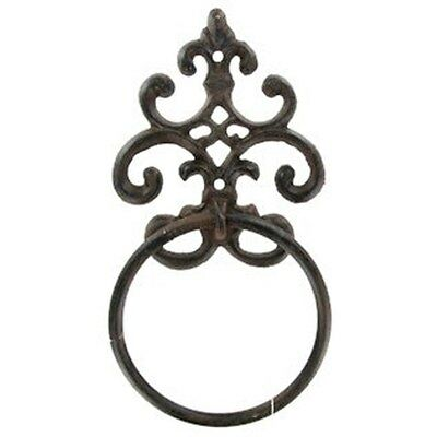 Brown Cast Iron Ornate Wall Mount Towel Ring SET OF TWO.