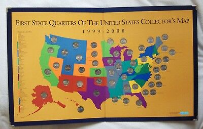 First State Quarters of the United States Collector's Map 1999-2008 w/Coins &Box