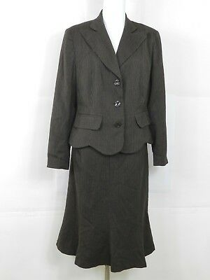 Harve Bernard  Womens Brown Striped Skirt Suit Size 12 lined