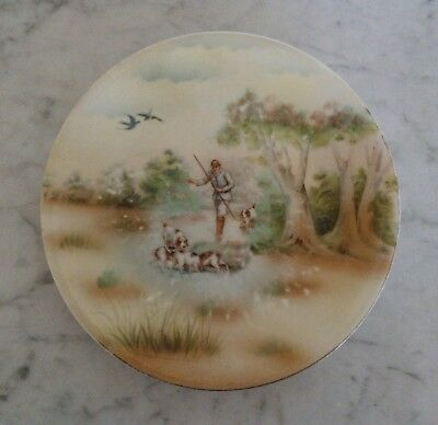 Antique Royal Bayreuth Plate Rural Country Hunt Scene Dogs Birds Fisherman