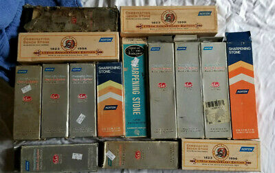 Collection 15 Old Norton Sharpening Stones (Rares, Whet, Oil, India, Crystolon