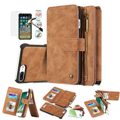 Luxury Wallet Case Genuine Leather Flip Removable Cover For iPhone XS Max XR X 8