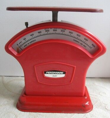 Vintage PERSINWARE 501 Kitchen SCALES red plastic & tin