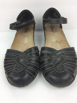 413a5a5c5c9 Clarks Wendy River Sandals Sz 7.5 Fisherman Style Blue Gray Leather Womens  Shoes