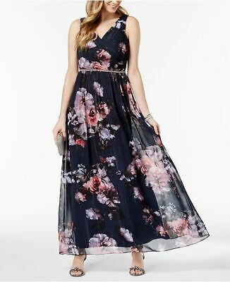 SL Fashions Metallic Floral-Print Surplice Gown MSRP $119 Size 4 # 10A 104 NEW