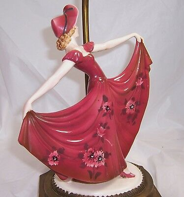 Dress Woman Red Figural Floral Table In Vintage Porcelain victorian Lamp NkwnPZ80OX