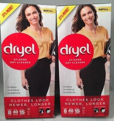 2 Boxes-Dryel At-Home Dry Cleaner Refill, Cleans 8 Loads, Up To 40 Garments Each