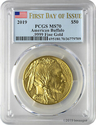 2019 $50 American Gold Buffalo PCGS MS70 First Day of Issue