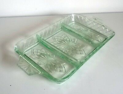 French Art Deco 'Portieux' Green Pressed Glass Dish 1920's – Antique Glass