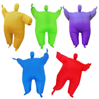 Inflatable Fat Chub Suit Fancy Dress Party Costume, Red, Green,Purple & Blue