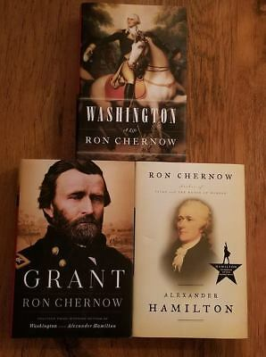 3 Books:  Washington, Grant, and Alexander Hamilton by Ron Chernow-HARDCOVER,NEW