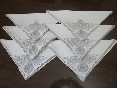 6 Large Antique Madeira Embroidered Cotton Napkins