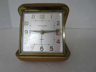 Vintage Phinney Walker Travel Wind Up Alarm Clock w/ Date, Made in Germany