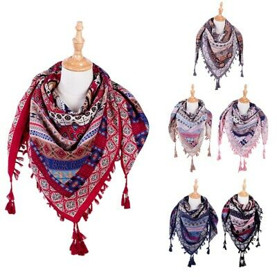 Womens Ladies Neck Scarf Boho Bohemia Warm Wrap Tassel Shawl Soft Touch New AU
