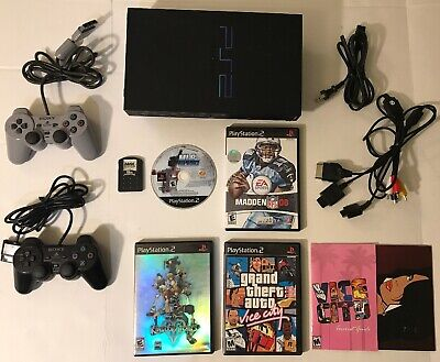 Sony PlayStation 2 PS2 Fat Black Console Bundle Lot 2 Controllers 4 Games Memory