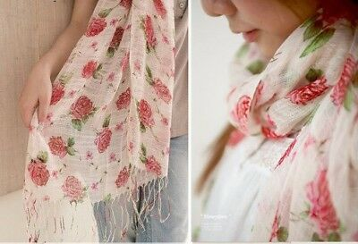 10*Unusual Chic Rose Cotton & Linen 180cm Long Scarf
