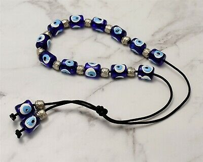 Evil Eye Greek Blue Handmade Worry Hand Beads Hand Painted Komboloi