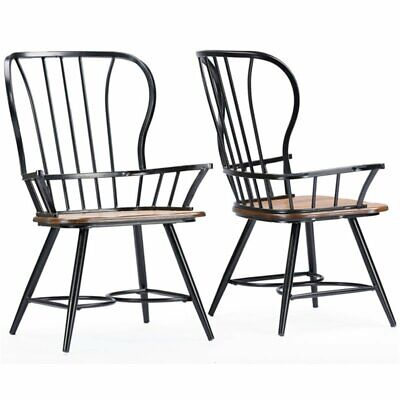 Baxton Studio Longford Windsor Dining Arm Chair in Black (Set of 2)