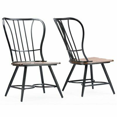 Baxton Studio Longford Windsor Dining Side Chair in Black (Set of 2)