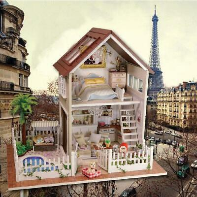 DIY Miniature Loft Dollhouse Kit 3D Mini Wooden House Toy with LED Light Music