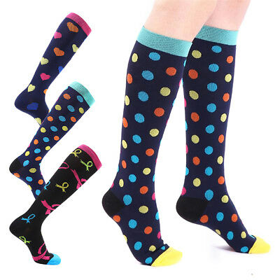 3 Pair 15-30mmHg Medical Compression Socks Support Stockings Travel Flight Socks