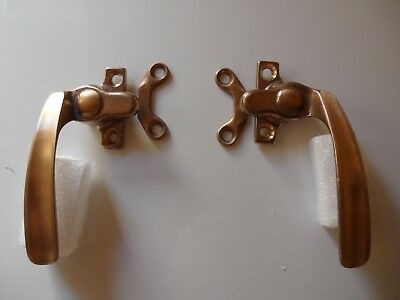 Vintage Solid Brass Window Left and Right Awning Sash Latch Handle Set