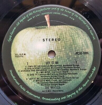 THE BEATLES Let It Be AUS LP APPLE Reissue CONTRACT PRESSING from CBS