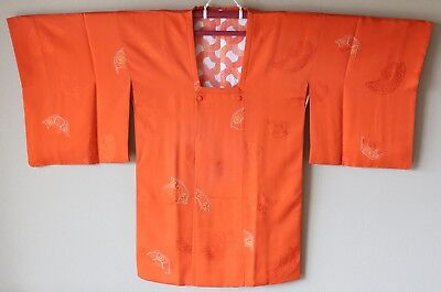 Japanese Vintage Kimono Michiyuki Coat Silk Orange White Yellow Peach Flower