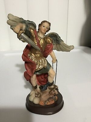 St. Michael Archangel with Sword Stepping On Defeated Lucifer Holy Figurine