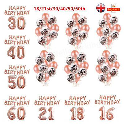 Happy Birthday Party Balloons Rose Gold 18/21/30/40/50/60 Age Number Foil Latex