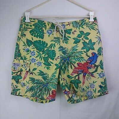 980c9e95ce POLO Ralph Lauren Swim Trunks Mesh Lined Parrots Men's Size Medium 36