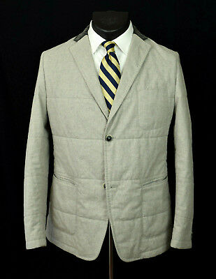 Hugo Boss 'Marwin' Quilted Cotton Sport Coat 44 Microcheck Patch Pocket Jacket