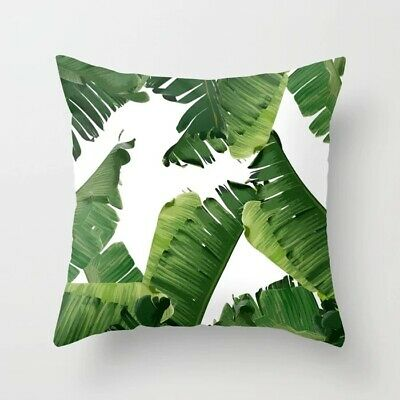 Polyester Pillow Case Cover Green Plant Leaves Throw Sofa Car Cushion Home Decor