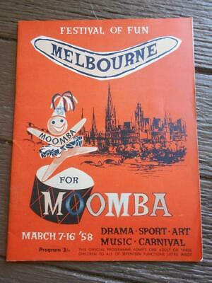 1958 Moomba Melbourne programme Pat Bramwell Queen pageant floats Holden Swan