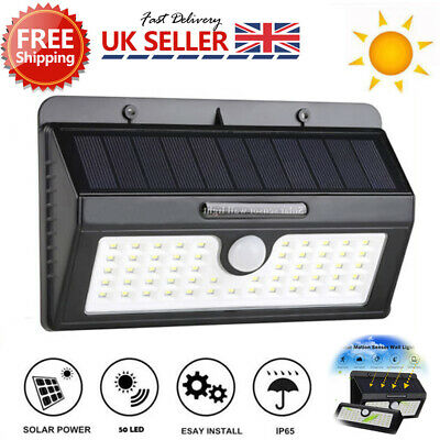 55 LED Solar Powered Wall Light PIR Motion Garden Security Spotlight Waterproof