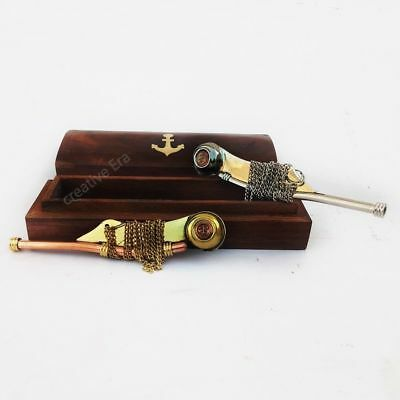 Brass Copper & Silver Bosun's Whistle Brass Boatswains Pipe with Wooden Box Gift