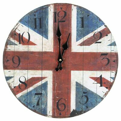 Vintage Shabby Chic Style 34cm Wall Clock Wood Home Bedroom Retro Kitchen Qu LK