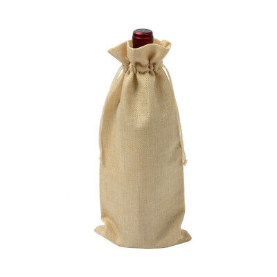 Xmas Rustic Natural Jute Burlap Wine Bags Drawstring Wine Bottle Gift Bag Tool