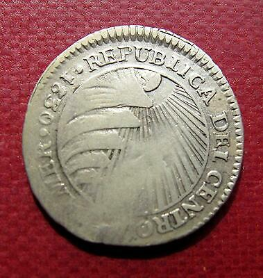 Central American Republic silver coin 1 real 1830.  Rare