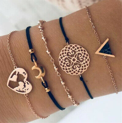 5Pcs/Set Fashion Women Boho Heart Hollow Map Moon Beads Bracelet Bangle Jewelry