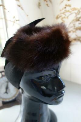 Genuine Mink Vintage Fur Hat Black Felt Bow