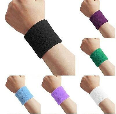 2 x Sports Wrist Sweatbands Unisex Wristband Band Tennis Squash Badminton Gym