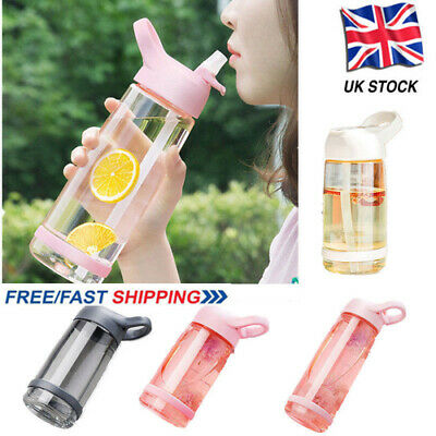 Kids Child Water Bottle With Straw Drinks Plastic Juice Water Cup Leakproof UK