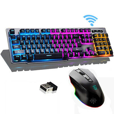 Gaming Keyboard Mouse Set Wireless 2.4G Technology Backlit Rechargeable 1000mAh