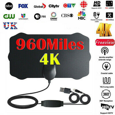 480Mile Range-Thin Digital HDTV Indoor Freeview Antenna with TV Aerial Amplifier